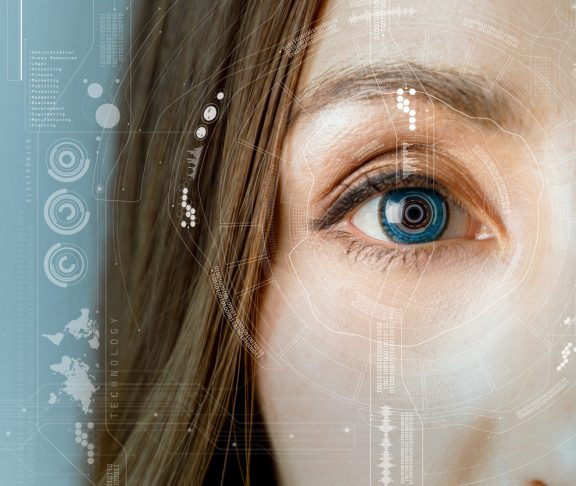 human eye and graphical interface. smart contact lens concept.