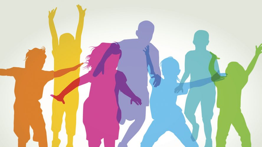 Colourful overlapping silhouettes of children playing. EPS10, file best in RGB, CS5 version in zip