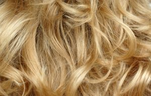 A detailed shot of curly blonde hair.
