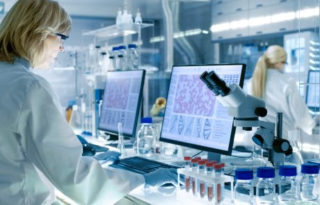 Senior Female Scientist Works with High Tech Equipment in a Modern Laboratory. Her Colleagues are Working Beside Her.