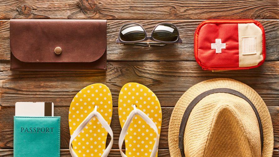 Travel and beach items flat lay still life
