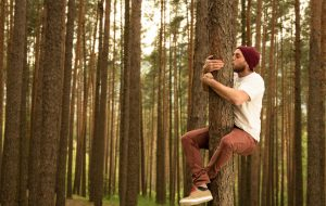 Hugging trees because they do so much for us