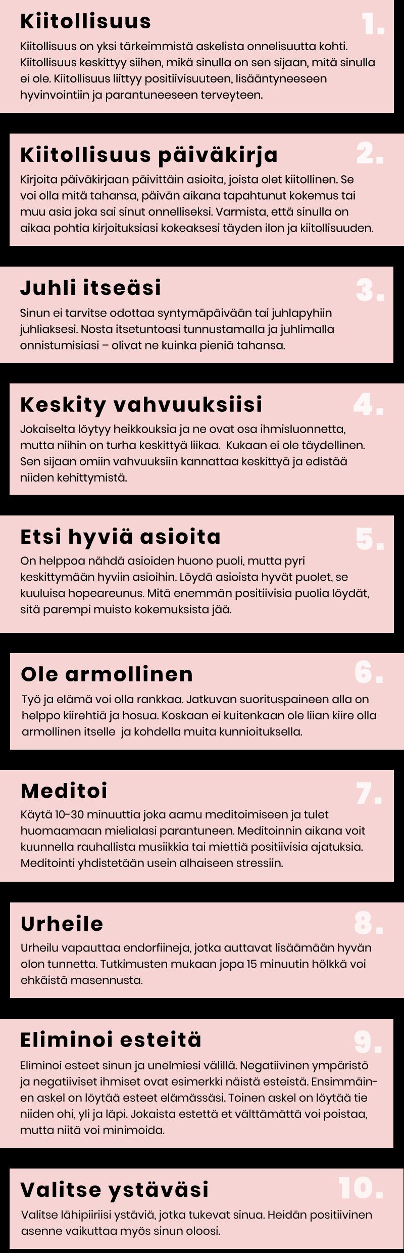 Miten olla onnellinen infografi