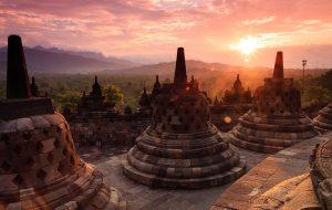 Borobudur tempel op Java, Indonesië