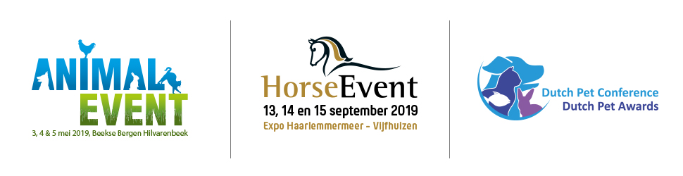 Reclamebanner: Animal Event, Horse Event en Dutch Pet Conference.