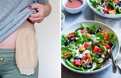 Dubbele afbeelding: persoon met stoma en groene salade.
