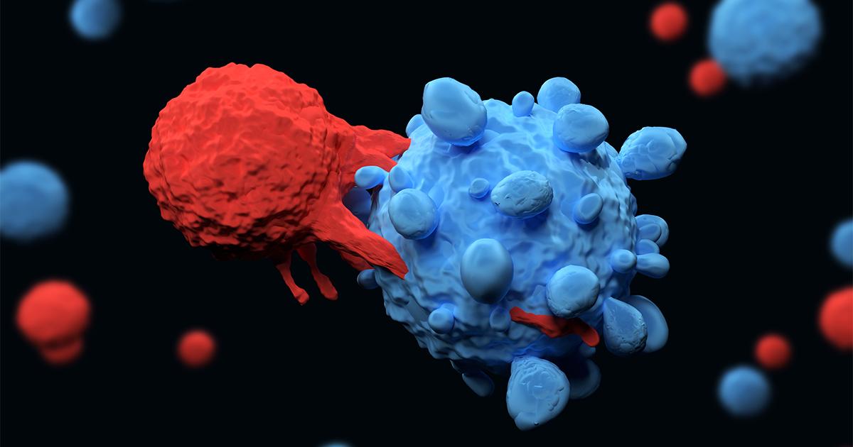 afbeelding van immuuntherapie: t-cel valt kankercel aan
