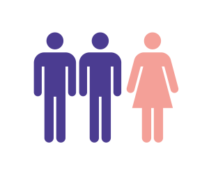 Twee mannen en vrouw