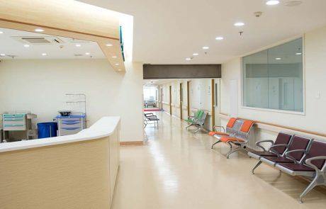 Empty hospital waiting room