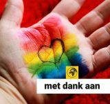 Hand met regenboogvlag en hartje in de palm geschilderd